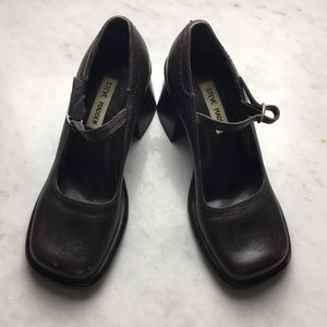 90's Square Toe Brown Leather Mary Jane Shoes 8.5